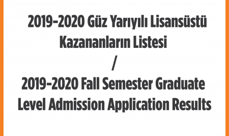 2019-2020 Fall Semester Graduate Level Admission Application Results